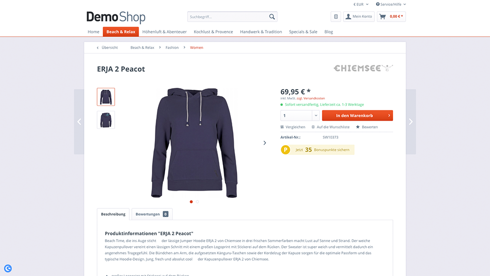 Produktseite - Shopware
